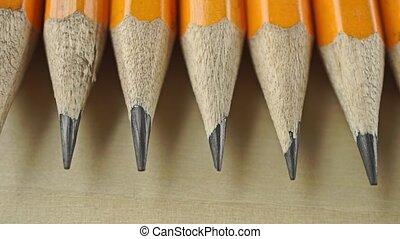 Sharp nibs of numerous pencils. Macro dolly video clip
