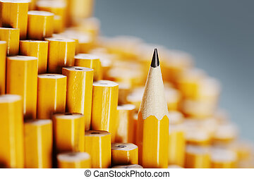 One sharpened pencil standing out from the blunt ones.