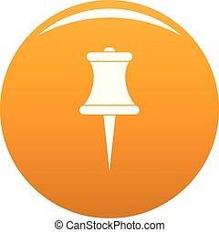 Sharp pin icon vector orange