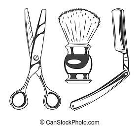 Sharp scissors for cutting hair, shaving brush for beard, sharp razor blade, barbershop instruments