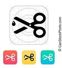Sharp scissors icon.
