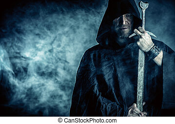 Portrait of a courageous warrior wanderer in a black cloak and sword in hand. Historical fantasy.