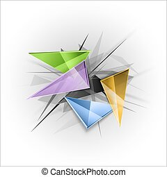 Sharp triangles on the abstract background as business template. Vector design elements.