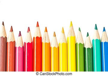 sharpened colored pencils isolated on white background