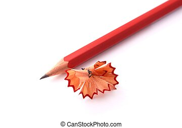 Sharpened pencil with chips on white background