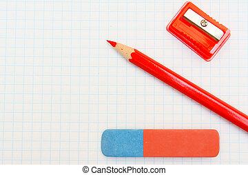 sharpener., crayon, gomme