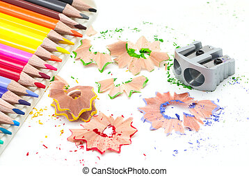 Sharpener with colored pencils