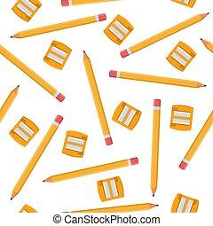 sharpeners, 白, 漫画, バックグラウンド。, 生地, 網, ベクトル, seamless, デザイン, 隔離された, style., イラスト, 包むこと, オレンジ, wallpaper., パターン, ペーパー, 鉛筆