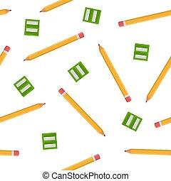 sharpeners, 白, 漫画, バックグラウンド。, 生地, 網, ベクトル, seamless, 緑, デザイン, 隔離された, style., イラスト, 包むこと, wallpaper., パターン, ペーパー, 鉛筆