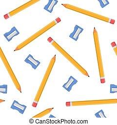 sharpeners, 白, 漫画, バックグラウンド。, 生地, 網, ベクトル, seamless, 青, デザイン, 隔離された, style., イラスト, 包むこと, wallpaper., パターン, ペーパー, 鉛筆