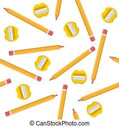 sharpeners, 白, 漫画, バックグラウンド。, 生地, 網, ベクトル, seamless, 黄色, デザイン, 隔離された, style., イラスト, 包むこと, wallpaper., パターン, ペーパー, 鉛筆