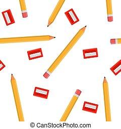 sharpeners, 白, 漫画, バックグラウンド。, 赤, 生地, 網, ベクトル, seamless, デザイン, 隔離された, style., イラスト, 包むこと, wallpaper., パターン, ペーパー, 鉛筆