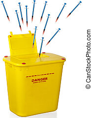Sharps and container - Used syringes and needles head ...