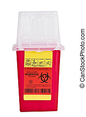 Sharps collector container isolated on white with clipping...