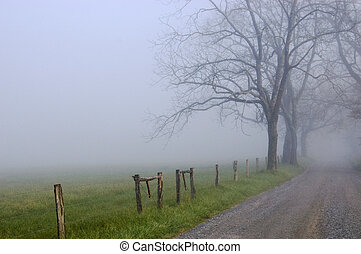 Sharps Lane, Cades Cove - Fog shrouds the background along...