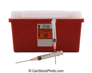 Sharps - Photo of a sharps container and two needles ...
