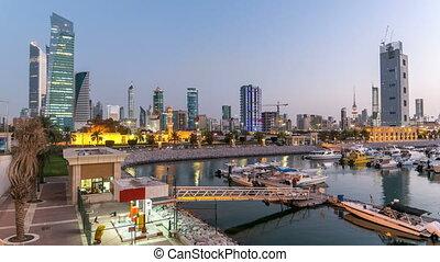 sharq, bateaux, kuwait., ville, koweït, timelapse, yachts, ...