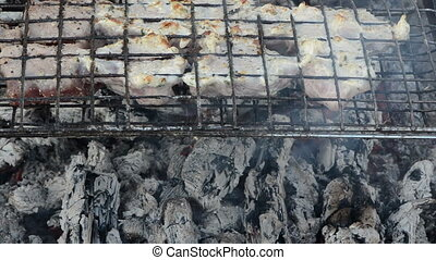 shashlik meat bake ember - closeup shashlik fresh meat baked...