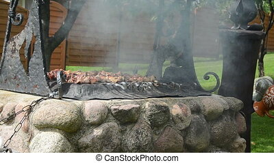 shashlik meat bake smoke