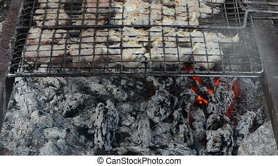 shashlik meat smoke ember - closeup shashlik fresh meat...
