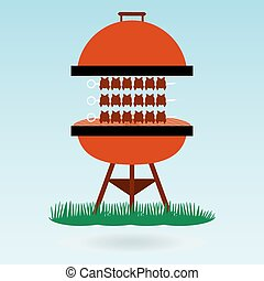 shashlik on the barbecue grill, Shish kebab on skewers. Grass concept.