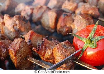 tasty fried pork with tomato