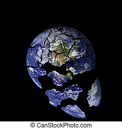 Shattered earth - A picture of the earth with cracks falling...