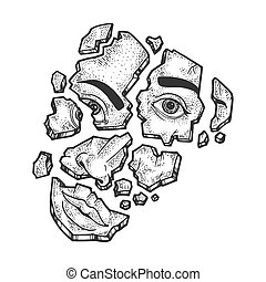 Shattered face broken on fragments sketch engraving vector illustration. T-shirt apparel print design. Scratch board style imitation. Black and white hand drawn image.