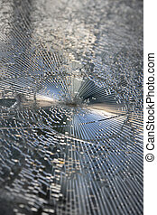 Shattered glas - Broken window with shattered glass