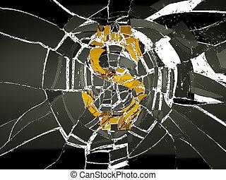 Shattered glass and broken US dollar symbol