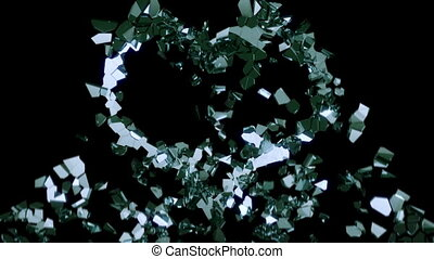 Shattered glass: broken heart shape with slow motion. Alpha...