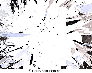 Shattered glass isolated on white background