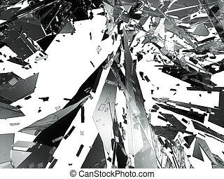 Shattered glass over white background. 3d rendering 3d...