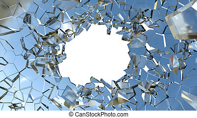 Shattered glass: sharp Pieces and hole over white background