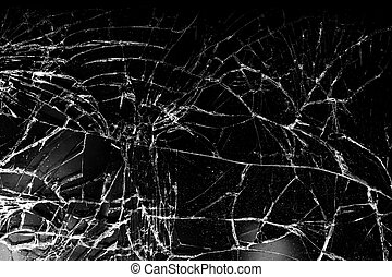 Shattered glass with a lot of cracks, texture.