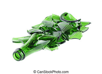 Shattered green champagne bottle isolated on the white...
