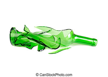 Shattered green wine bottle isolated on the white background...