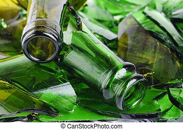 Shattered green wine bottle