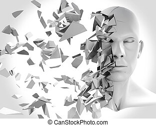 Shattered head front view - A 3d Rendering of a shattered...