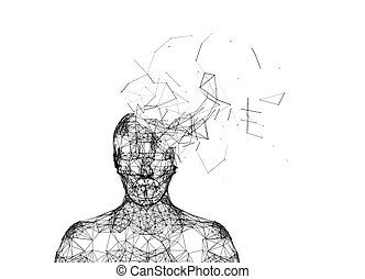 Shattered human head isolated on white. Artificial intelligence in futuristic technology concept, 3d illustration