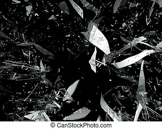 Shattered or damaged pieces of glass isolated on black