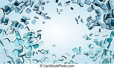 Shattered or smashed pieces of blue glass. Large resolution