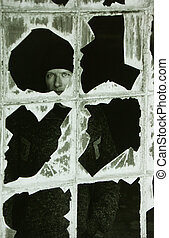 shattered - Portrait of man in abandoned warehouse (added...
