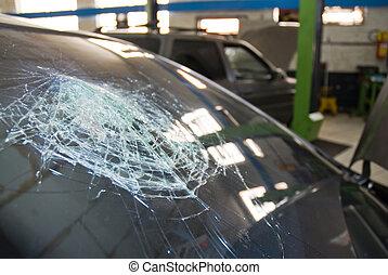 Shattered windshield. - Detail shot of a shattered car ...