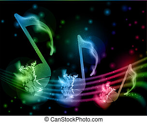 Shatterred musical notes - Glowing musical notation from...