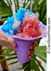 Shaved ice snow cone on a hot summer day
