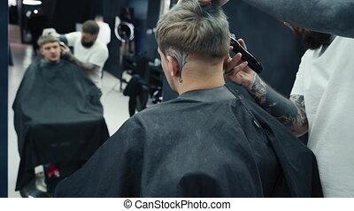 shaver., fin, coiffure, 4k., électrique, magasin, homme, ...