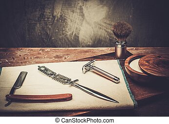 Shaving accessories - Shaving accessories on a luxury wooden...