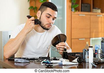 Shaving beard with electric razor