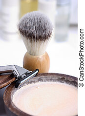 Shaving brush and accessories in the background